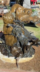 Two bronze sculptures of bears. Found along Gallery Row on Canyon Road in Santa Fe, NM