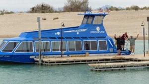 Blue Water Jet Boat Tours docking at Pirates Cove Resort on Lake Havasu