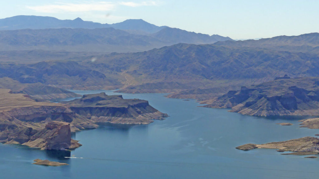 Lake Mead and aerial view of surrounding terrain