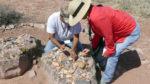 Zuni ancient pottery shards at Hawikku ruins