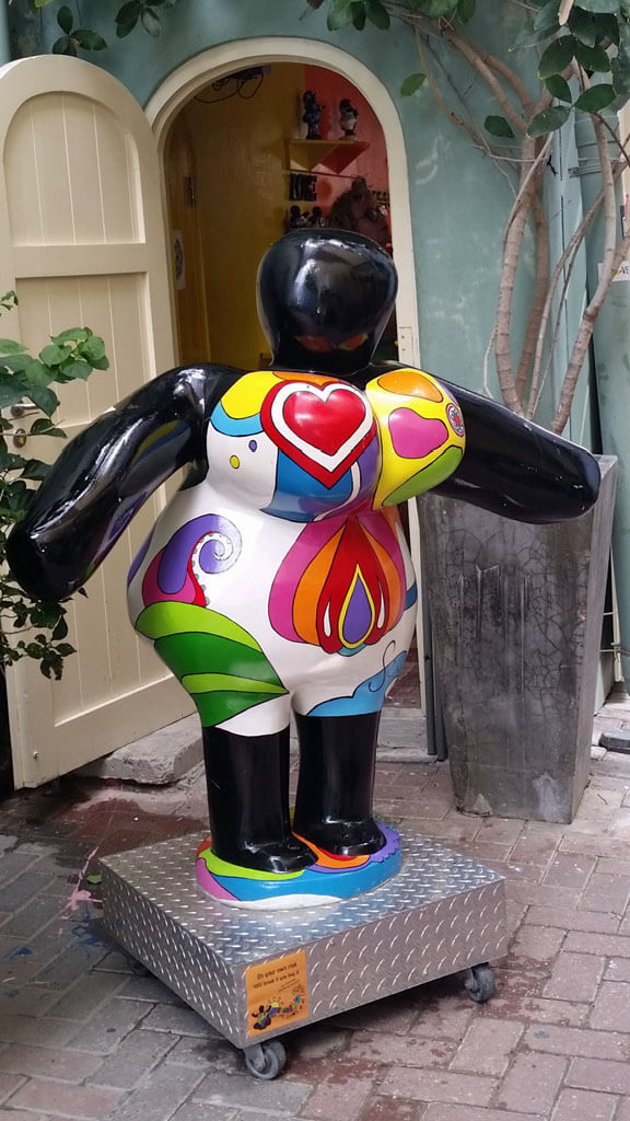 Colorful chichi doll at Serena's Art Factory in Curacao