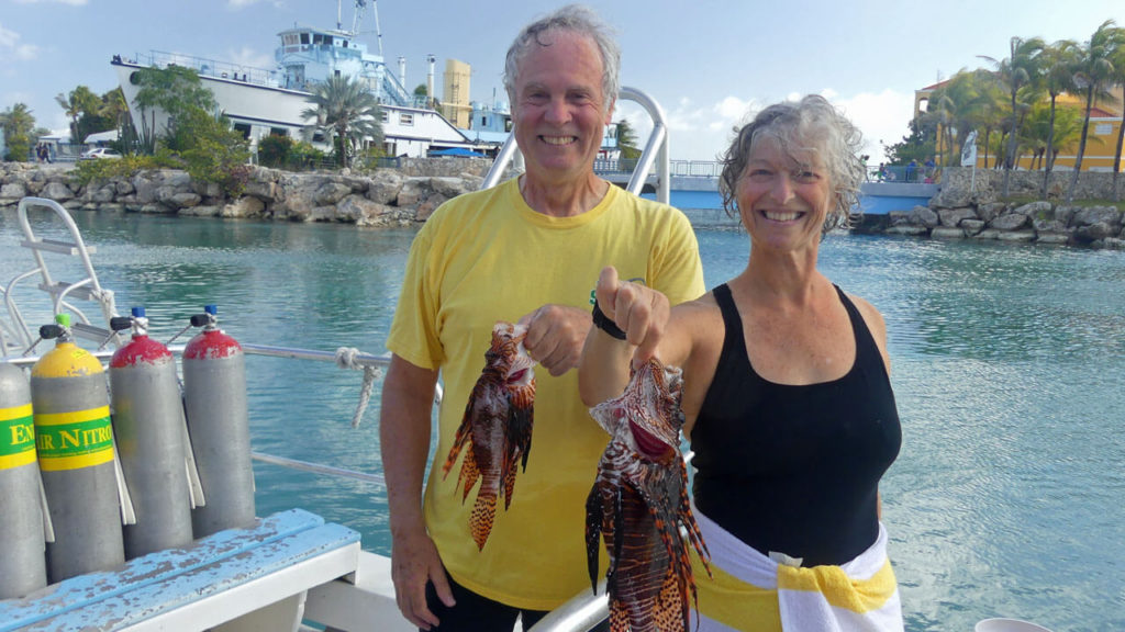 Lionfish catch from a dive with Ocean Encounters in Curacao